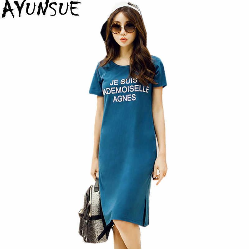 AYUNSUE 2019 camiseta de verano para mujeres coreanas camisetas de algodón camisetas Casual vestido femenino de manga corta talla grande 5XL 6XL WXF694