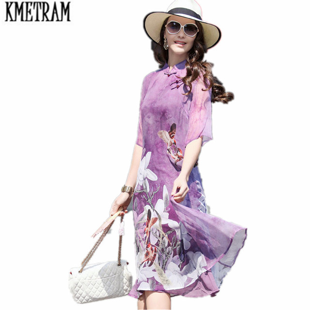 9171918d1219 KMETRAM New Plus Size Vintage Women Knee-Length dress Print Dish Buckle  Silk Chinese Wind Dresses Blue Robe Femme Ete 2018 HH128