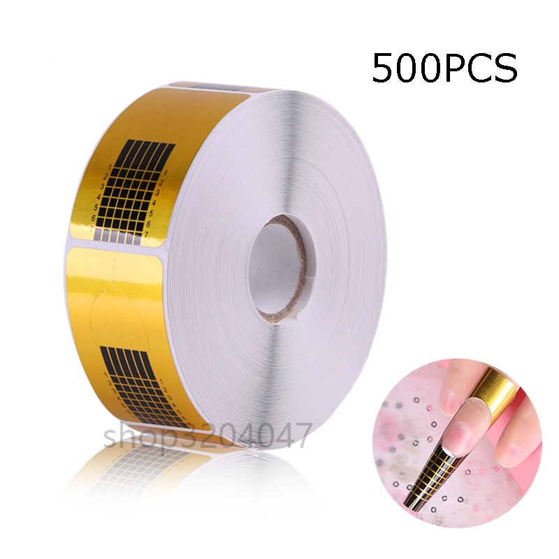 Nail-forms-500pcs Gold Nail Guide Sticker Tape Nail Art Sculpting Extension Nail Form Guide Stickers Adhesive Acrylic UV Gel Tip