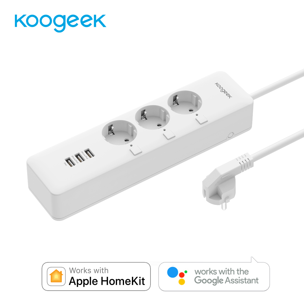 Koogeek Wi Fi USB prise de courant câble d'extension avec interrupteur individuel prise de courant EU multiprise chargeur intelligent pour Apple Homekit-in Prise de courant intelligente from Electronique    1