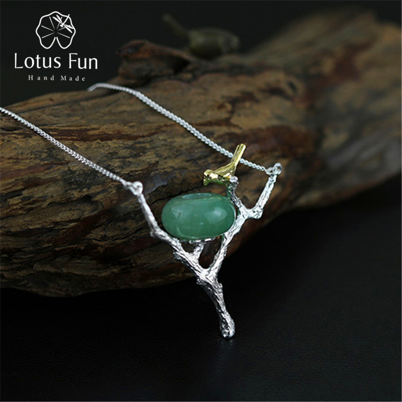 Lotus Fun Real 925 Sterling Sølv Naturlig Aventurine Håndlaget Smykker Retray Bird Necklace med Anheng for Women Collier