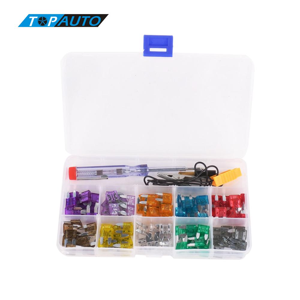 Car color kit - 100pcs Mini Car Fuse Kit Color Coded For Ten Amps Fuses With Alligator Clip Electric Tester Tweezer Fuse Puller