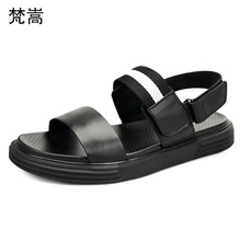 Summer Leather British retro cowhide Fashion Anti-skid Sandals Leisure Breathable Beach Shoes mens gladiator sandals summer