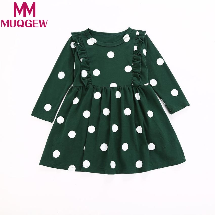 MUQGEW Toddler Kids Baby Girls Long Sleeve Fold Dot Print Dress Outfit Clothes Dress toddler girls clothing sets kid Spring heart pattern toddler girls clothing sets baby kids heart shirt dress leggings kids 2pcs baby girl outfit