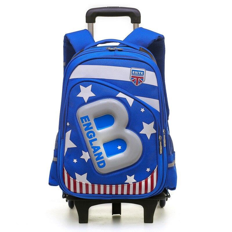 Kids 2 6 Wheels Removable Trolley Backpack Wheeled Bags Children School Bag Boys Travel Bags Children