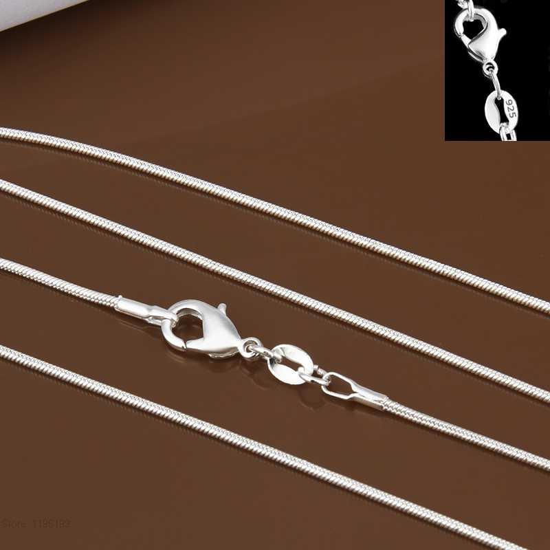 Długi 16-24 cal (40-60 cm) 100% autentyczne stałe 925 Sterling Silver Chokers naszyjniki 1mm wąż naszyjnik łańcuszkowy dla kobiet YDHX01