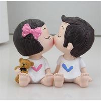1Pair Sweety Lovers Couple Wedding Doll Figurines Miniatures Fairy Garden Bonsai Resin Crafts Car Ornaments DIY