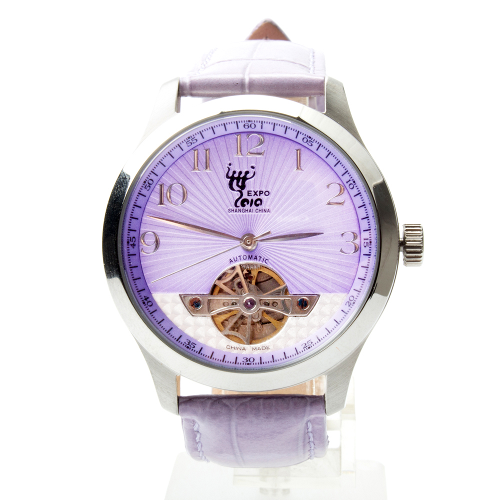 EXPO Shanghai 2010 Edition Purple Dial Purple Band Seagull Flywheel Automatic Mechanical Men's Watch expo shanghai 2010 edition purple dial purple band seagull flywheel automatic mechanical men s watch