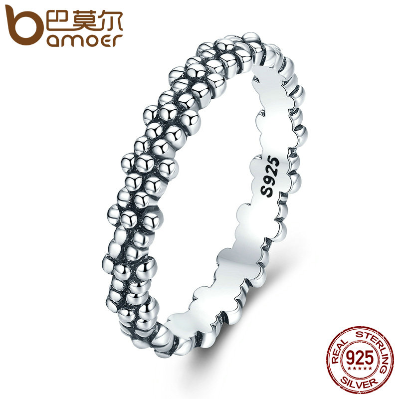 BAMOER Authentic 925 Sterling Silver Stackable Ring Daisies Flower Finger Rings for Women Sterling Silver Jewelry Gift PA7628 25 style 925 sterling silver ring charm princess crown flower heart silver charms finger ring for women jewelry