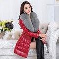 Plus size 6XL Novo 2016 inverno PU casaco De Couro para baixo Mulheres removível Faux Gola De Pele de 90% de pato branco para baixo Casacos Casaco 8 cores