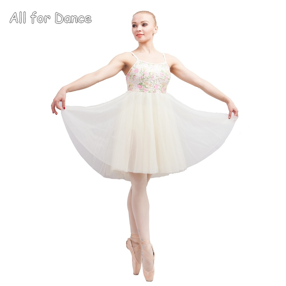 Sequin Lace With Ivory Spandex Bodice Girl Ballet Dance Skirt Contemporary Dacne Wear Lyrical Dance Dress image