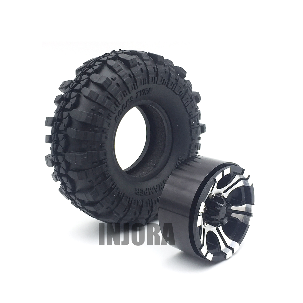 4PCS 1.9 Rubber Tires &  Metal Beadlock Wheel Rim for 1:10 RC Rock Crawler Axial SCX10 90046 90047 Tamiya CC01 RC4WD D90 D 4pcs rc crawler truck 1 9 inch rubber tires