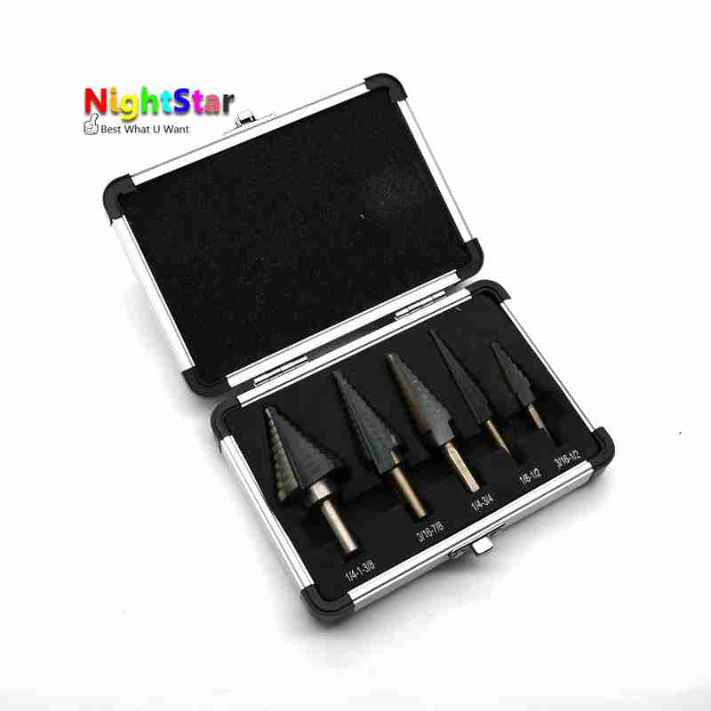 5pcs Step Drill Bit Set Hss Cobalt Multiple Hole 50 Sizes SAE Step Drills Metal Drilling Woodworking Tools jelbo 5pcs set hss cobalt multiple power tools step drill bit power tools multiple hole step drill bit set tools set metal