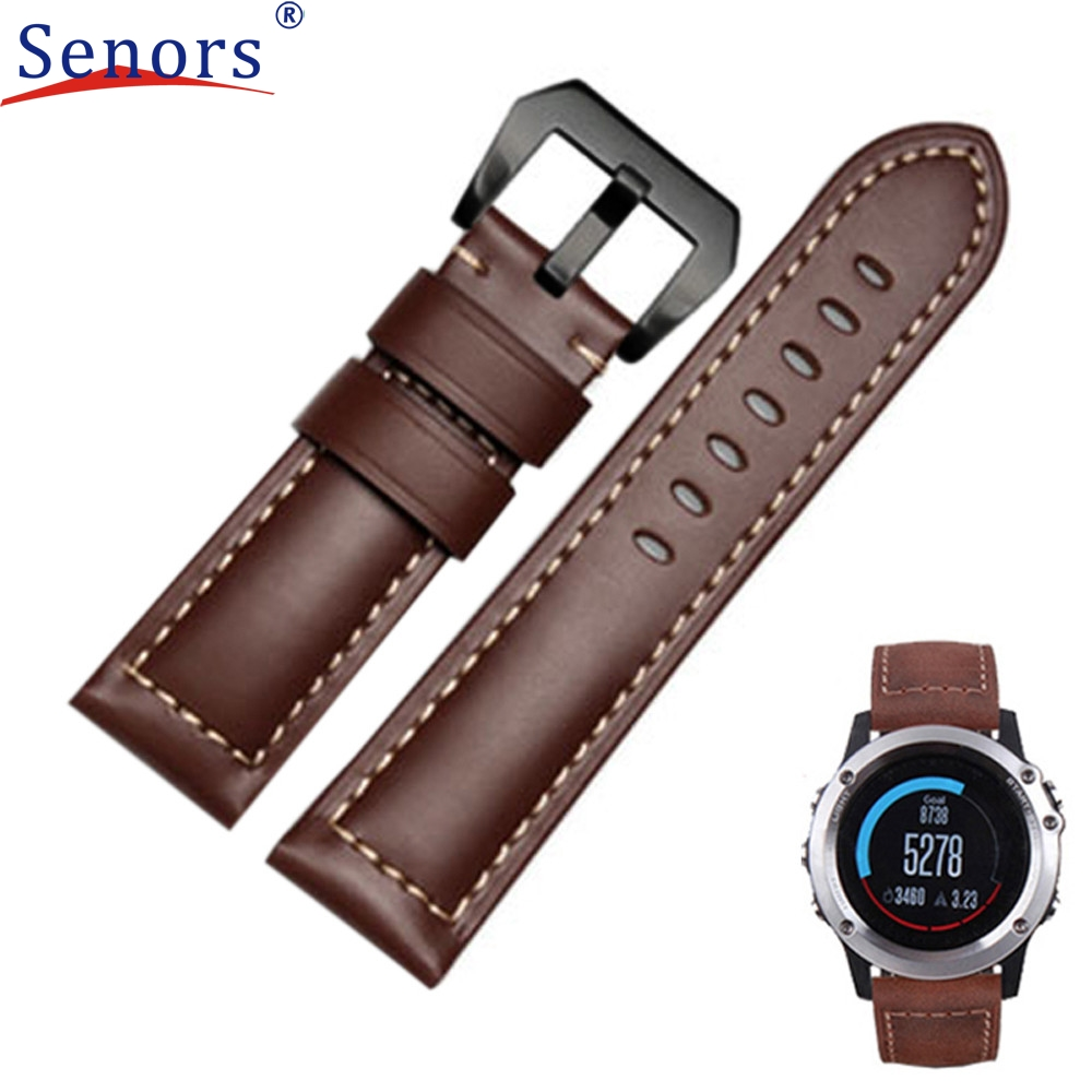 NEW 2017 Genuine Leather Watch Replacement Band Strap + Lugs Adapters For Garmin Fenix 3 / HR High Quality #0429 luxury leather strap replacement watch band with tools for garmin fenix 3 100% brand new free shipping sep14