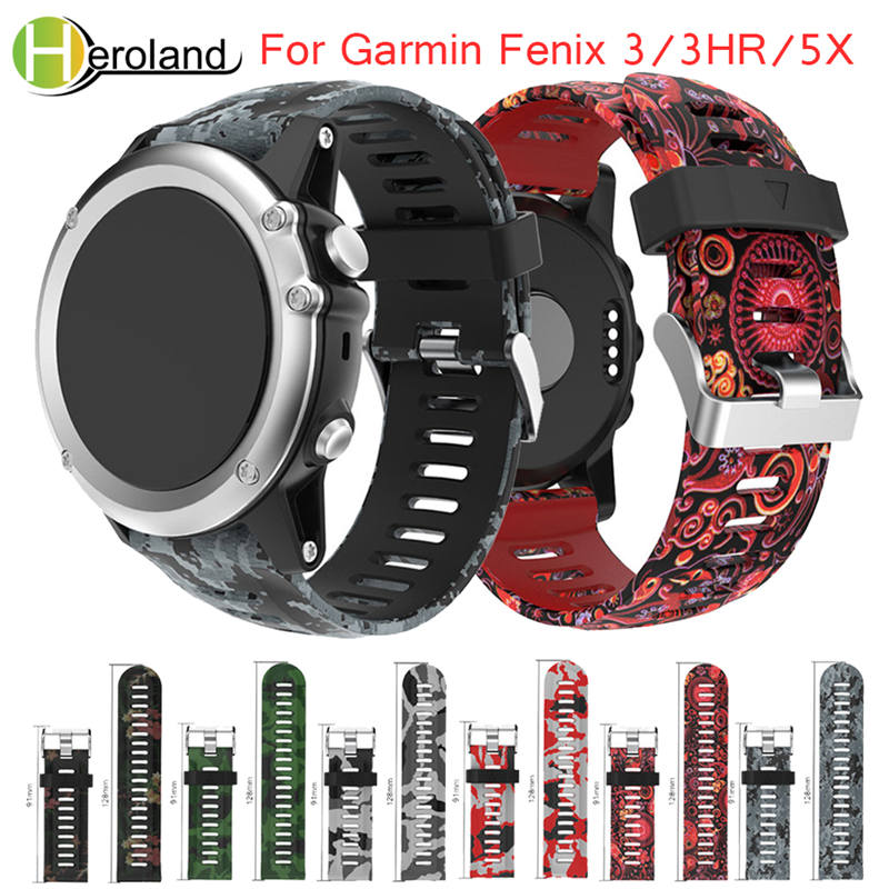 For Garmin Fenix 3 Replacement Watch Band 26mm Width Watch Strap Outdoor Sport Silicone Watchband For Garmin Fenix3 HR/ Fenix 5X