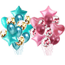 14pcs Heart Star Gold Confetti Balloon Happy Birthday Party Metallic Chrome Balloons Baby Shower Wedding Decor Helium Ballons