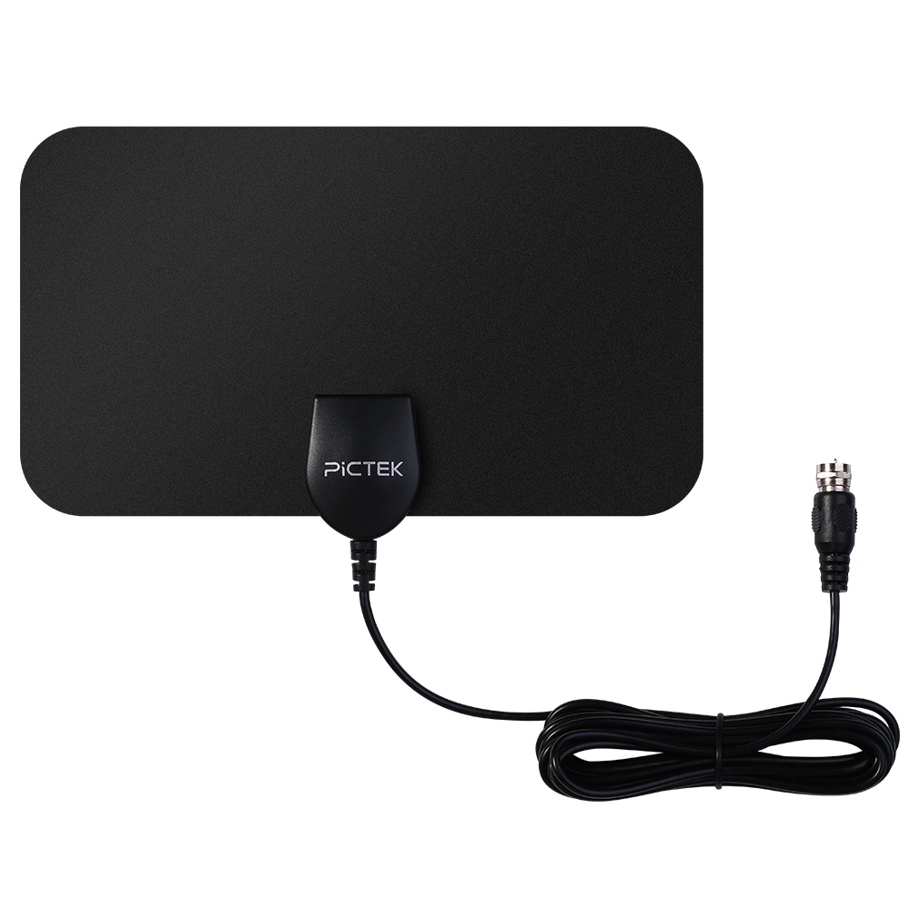 Pictek 25 Miles 25dBi Amplified HDTV Antenna Digital 1080p HD Indoor Home Use Free Channels US EU Plug TV Antenna w/ 10ft Cable