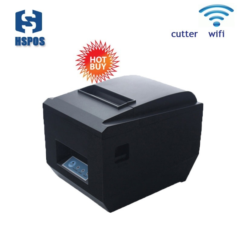 Pos 80mm esc/pos WIFI thermal receipt restaurant printer with auto cutter support to print QR code quality bill machine label sticker receipt printer barcode qr code small ticket bill pos printer support 20 80mm width print speed very fast