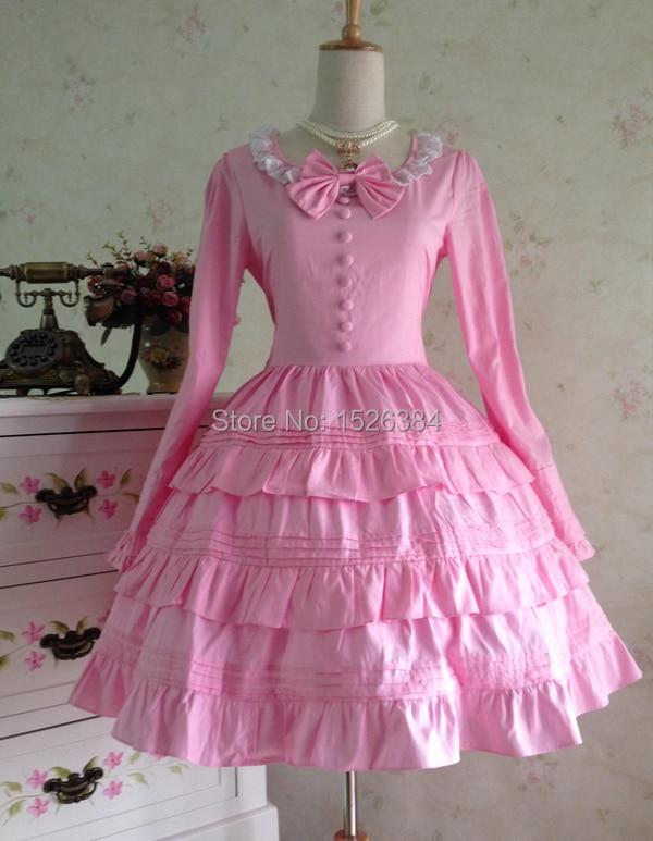 Lolita katoenen jurk met kant en strikjes Lolita - Carnavalskostuums - Foto 4