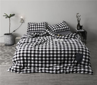winter Luxury black white stripe Luxury Bedding set 4pcs Fleece fabric Bed set King Queen Size Duvet cover Bedsheet set