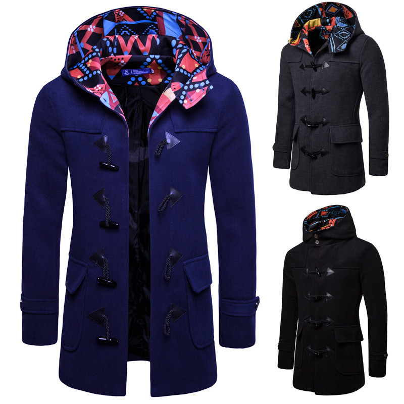 Men Jacket Coats Fashion Horns Buckle   Trench   Contrast Color Slim Fit Black Navy Grey Overcoat   Trench   Long Outwear XXXL