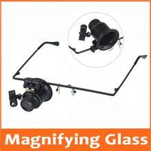 20 Keer Hoofd Dragen Led Verlichte Portable Goggle Glazen Stijl Vergrootglas Loupe Medisch Vergrootglas Voor Klok Reparatie