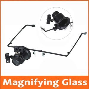 Image 1 - 20 Keer Hoofd Dragen Led Verlichte Portable Goggle Glazen Stijl Vergrootglas Loupe Medisch Vergrootglas Voor Klok Reparatie