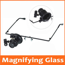 20 Times Head Wearing LED Illuminated Portable Goggle Glasses Style Magnifier Loupe Medical Magnifying Glass for Clock Repair