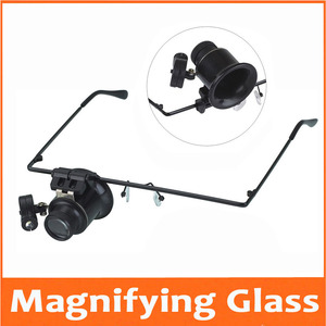 Image 1 - 20 Times Head Wearing LED Illuminated Portable Goggle Glasses Style Magnifier Loupe Medical Magnifying Glass for Clock Repair