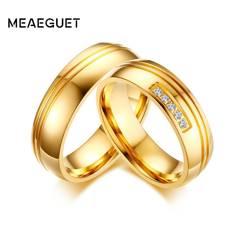 749614799a Meaeguet Unisex Cubic Zirconia Wedding Band Gold-color Stainless Steel  Engagement Ring For Female Male Alliance Couple Love Anel
