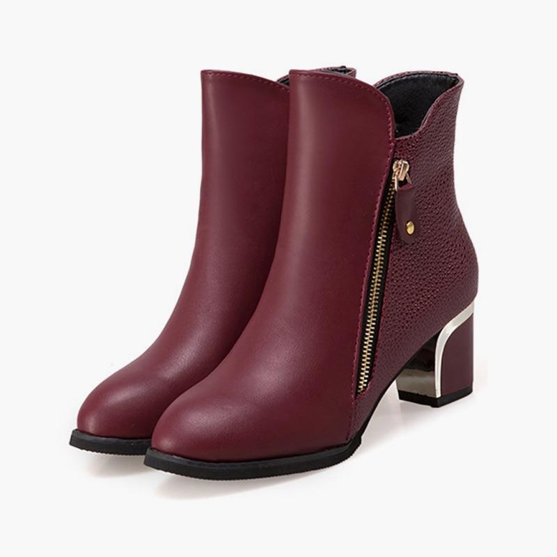 Cuir En Décoration Femmes 2018 Métal Nouveau Carré Pompes Pointu Talon Chaussures Red Botas Souple Black Mode Bout wine Classique Zip Femme Cheville Bottes qXwOnWgwS
