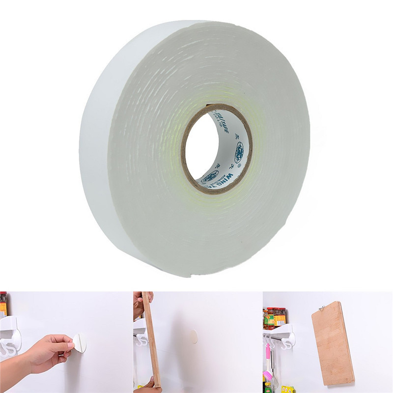 5mx24mmx1.8mm White Strong Double Sided Sticky Tape Foam Double Faced Adhesive Craft Padded Mounting kicute 20 sheets transparent a4 double sided adhesive sheet clear diy craft strong sticky tape paper office school supply