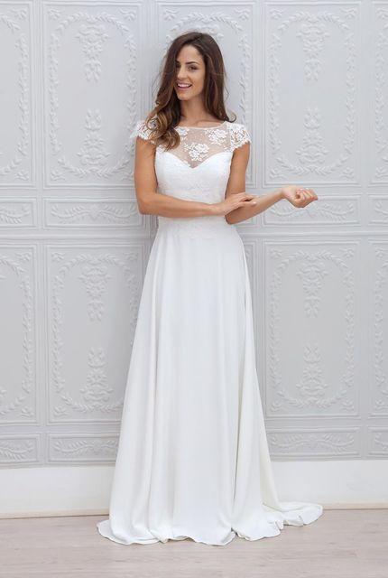 Simple elegant white bridal dress cap sleeve top hollow lace open simple elegant white bridal dress cap sleeve top hollow lace open back a line open junglespirit Gallery