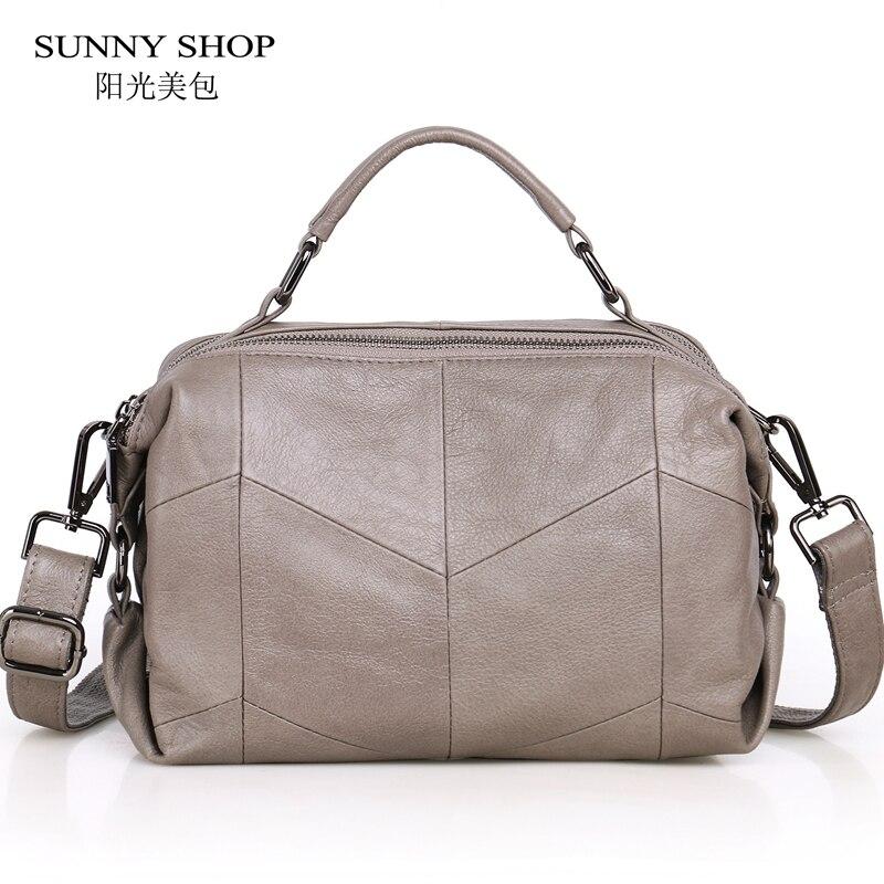 SUNNY SHOP 100% Luxury Genuine Leather Women Bag Double Zipper Compartment Small Soft Natural Orignal Leather Crossbody Bag 2018 недорго, оригинальная цена