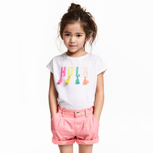 Little maven 2018 Summer Girls T-shirts 100% Cotton Fashion Baby White Short Sleeve Top Tee for 1-6 Year Children Clothing