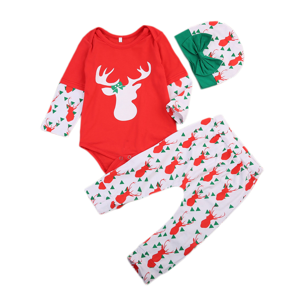 Cute Newborn Baby Boy Girl Xmas Tops Romper Pants Hats 3Pcs Outfits Set Clothes Long Sleeve Red Christmas Clothing Sets 0-24M