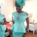 Menta Verde Nigeriano Africana Del Cordón de La Sirena Vestidos de Noche 2017 Largo Vestido de Noche Vestido de Noite longo Plus tamanho