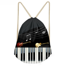 ThiKin Music Note With Piano Keyboard Print Women Men Drawstring Backpack Beach Travel Mini String Girl Rucksack Cinch Sack