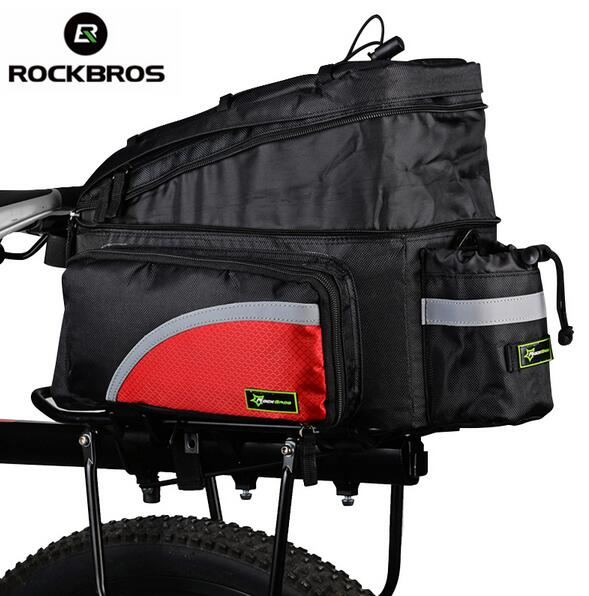 ROCKBROS MTB Bicycle Carrier Bag Rear Rack Bike Trunk Bag Pannier Larger Capacity With Rain Cover Luggage Bag Rear Carrier Bags multi function aluminum car frame rear cycling bike bicycle rack holder bicyles mount carrier for car