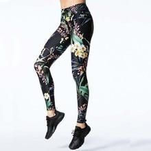 J&L Multicolor Flower Print Black Leggings Ladies Summer time New Exercise Garments Push Up Health Feminine Elastic Slim Pants Leggins
