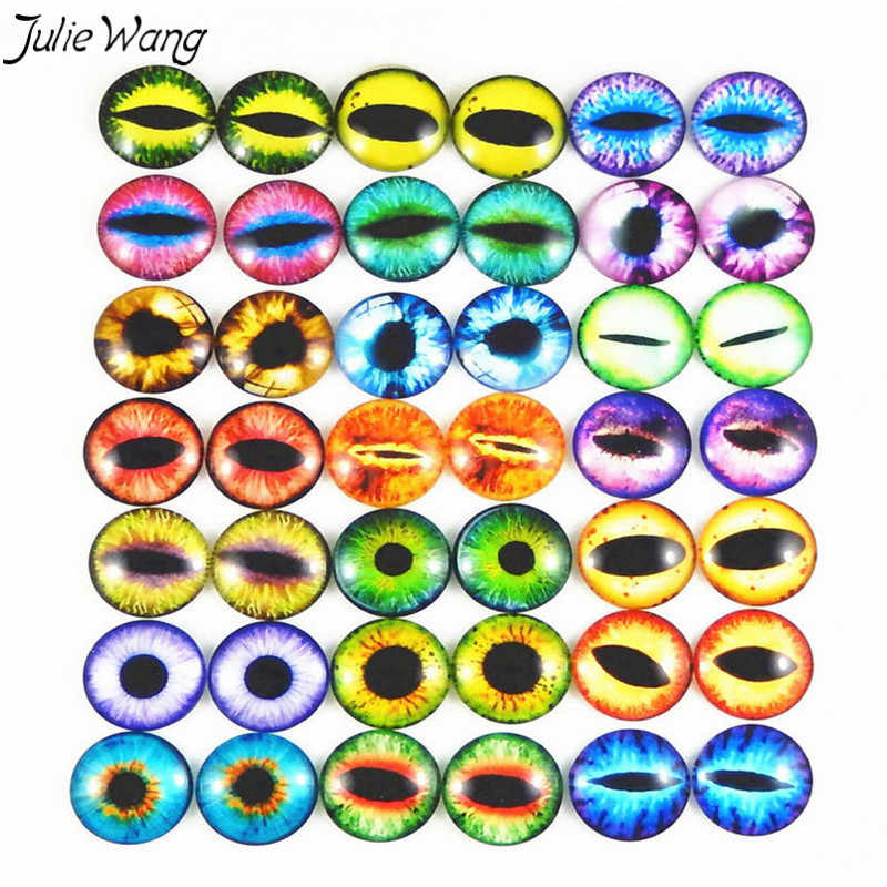 Julie Wang Multi Color Optional Cat Dragon Evil Eye Clear Transparent Time Gem Cover Cameo Cabochon DIY Finding Round 6-30mm