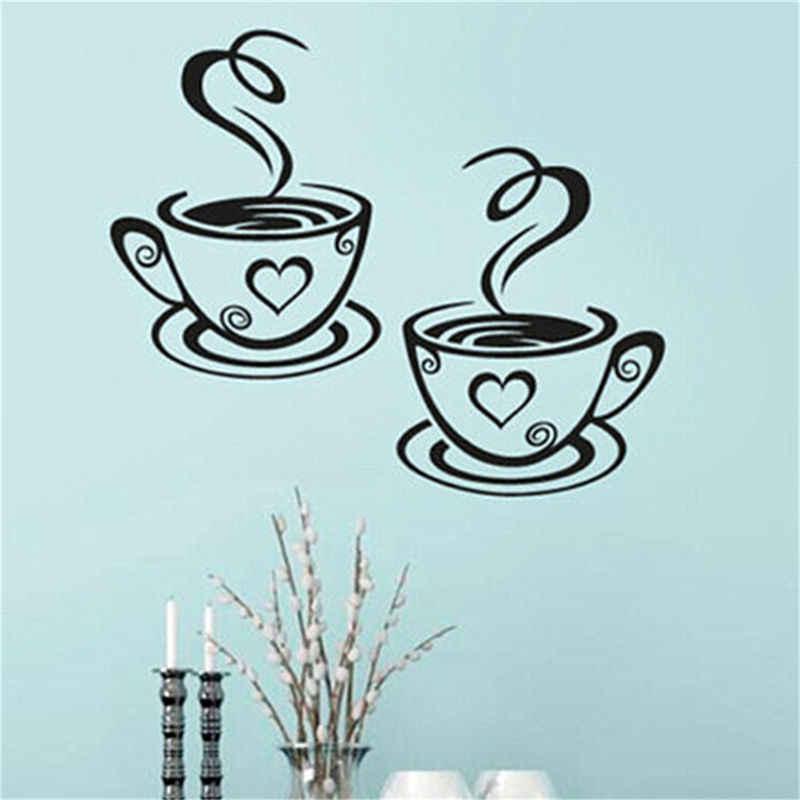 1 pc copos de café duplo adesivos parede sala decoração da arte do vinil decalques cozinha decoração casa