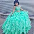 Vestidos de 15 años 2017 Two Pieces Mint Verde Quinceanera frisado vestido de renda sweet 16 vestido quinceanera vestido de festa formal gow vestidos