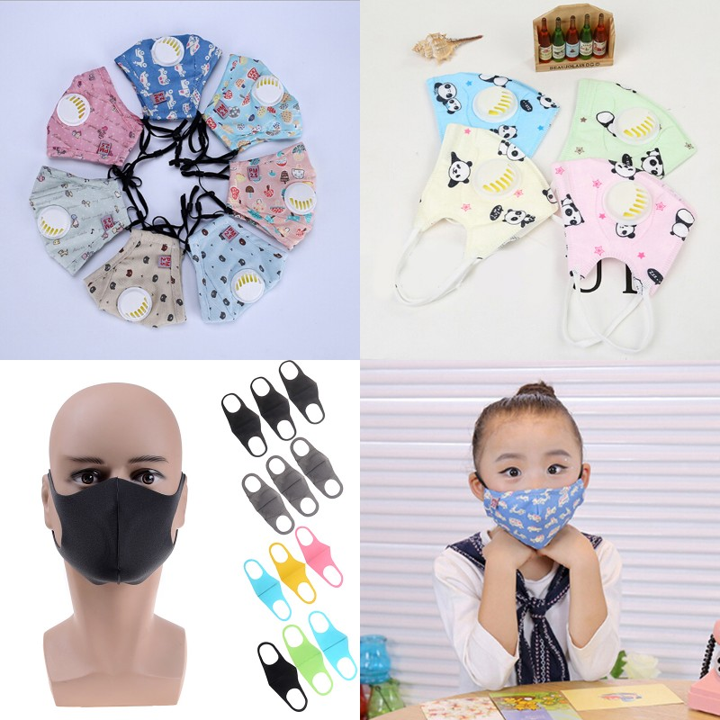 1/3pc Cartoon Children PM2.5 Mouth Mask Kids Breath Valve Anti Haze Breathable Mask Anti Dust Mouth-muffle Respirator Face Masks