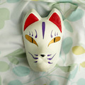 Full Face Hand-Painted Japanese Fox Mask Furude Rika Pattern Cosplay Masquerade for Party Carnival Halloween