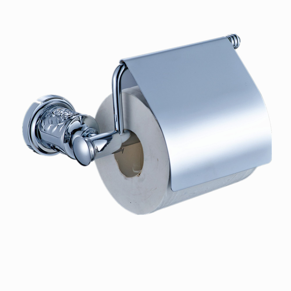 AUSWIND European Sliver Color Toilet Paper Holder Brass Polish Finished Tissue Holder Gold Carved Base Wall