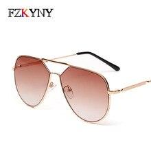 FZKYNY Classic Vintage Aviation Sunglasses Women Brand Designer Men Double-Beam Sun Glasses Big Metal Frame AC Lens Eyewear