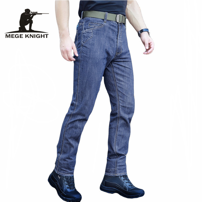 ФОТО MEGE Men High Quality Elastic Casual Denim Biker Jeans, Tactical Clothing Outdoors Army SWAT Military Cargo Jeans