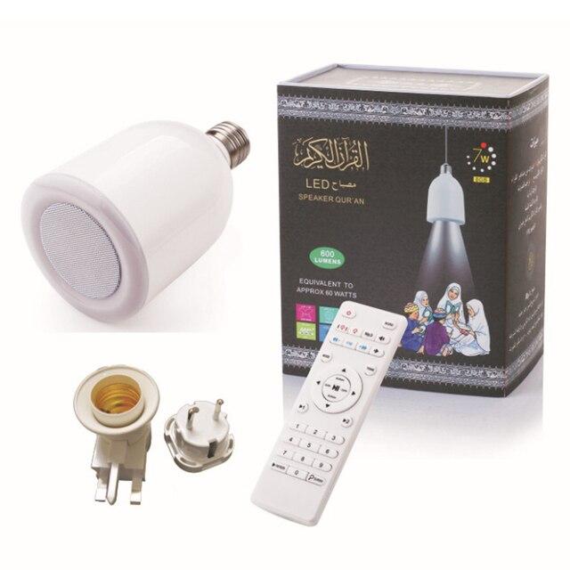 Kuran ı kerim LED ışık ampul kablosuz Bluetooth hoparlör uzaktan kumanda kısılabilir E27 müslüman kuran Reciter FM radyo TF MP3 müzik lamba ampulü