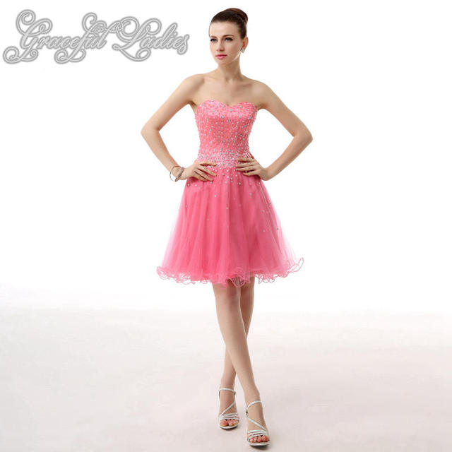 Pink Tulle Short Prom Dresses Rhinestones Beads Natural Waist Knee Length  Prom Party Dresses Plus Size Real Image Prom Dresses d458ac76d9e6